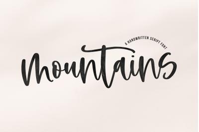 Mountains - Handwritten Script Font