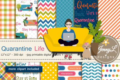 Quarantine LIfe Digital Papers and Clipart