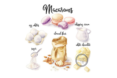 Watercolor macarons and cooking ingredient. Food illustration