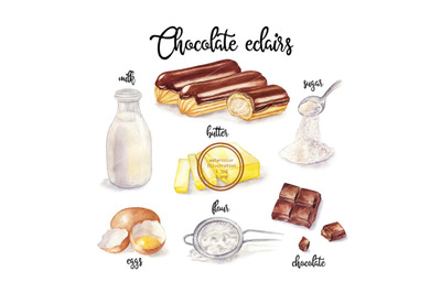 Watercolor eclairs and cooking ingredient. Food illustration