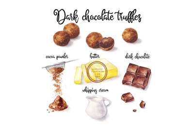 Watercolor Truffles and cooking ingredient. Food illustration