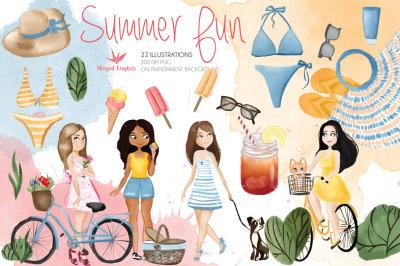 Summer fun: 22  individual watercolor illustrations  (300DPI png)