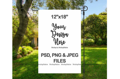 Garden Flag Mockup PSD File, Add Your Own Image/Background