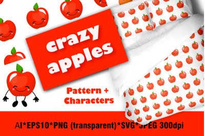 Crazy apples. Set of fruit characters.