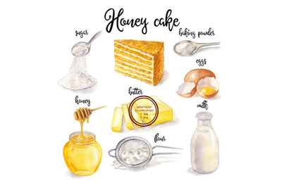 Watercolor honey cake and cooking ingredient. Food illustration