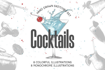 Hand drawn cocktails collection