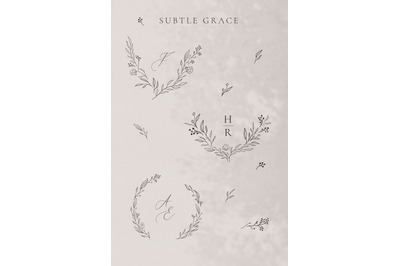 Collection of line drawing delicate wreaths, floral illustration.