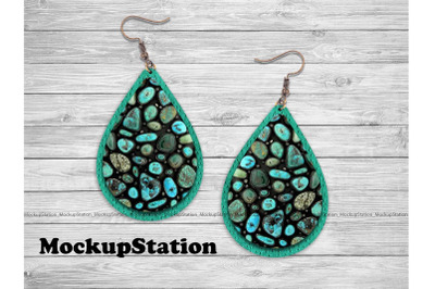 Turquoise Faux Leather Look Drop Earring Sublimation Design