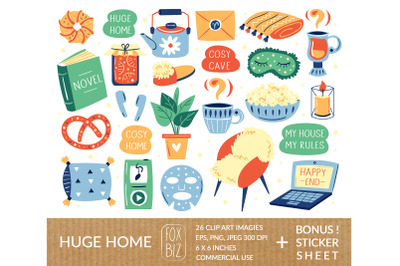 Cozy home clipart, stickers. Huge, stay home, my home stuff.