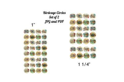 "Set of 2 Sheets 1"" and 1 1/4""  Vintage  Birdcages"