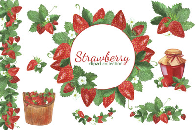 Seamless pattern with watercolor hand-drawn strawberries.