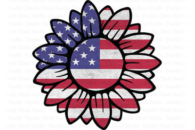 American Flag Sunflower PNG, Sunflower Patriotic Sublimation PNG.