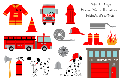 Fire Department Vector Clipart Illustrations
