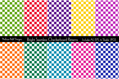 Bright Seamless Checkerboard Patterns