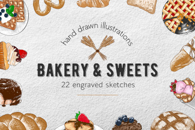 Bakery and sweets colorful sketches
