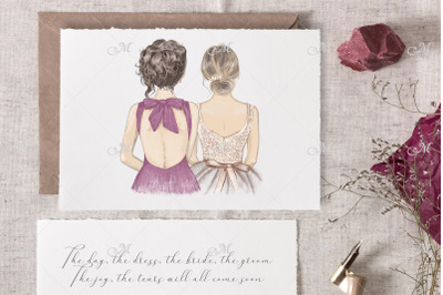 Bride & Bridesmaid illustrations