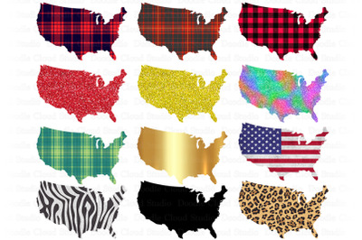 USA Map PNG Bundle, United States Map Sublimation PNG