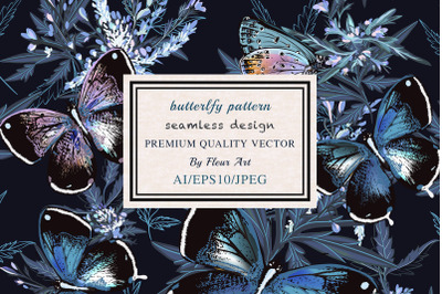 Floral vector pattern with butterflies