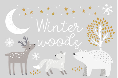 Winter Woods Clipart and Pattern Set