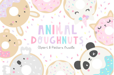 Animal Doughnuts Clipart and Pattern Set