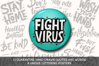 Quarantine lettering and posters set