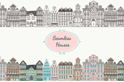 Colorful, Black, White and Chalk Drawing Vintage Old Styled Houses.