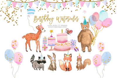 animal birthday watercolor clipart, Nursery Watercolor Kids clipart,