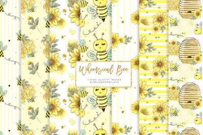 Watercolor bee clip art seamless pattern, whimsical bee digital paper