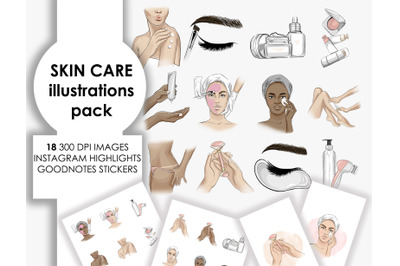 Beauty spa skin care clipart printable stickers fashion illustrations
