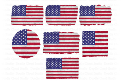 USA American Flag Distressed PNG,  Background PNG Bundle,.