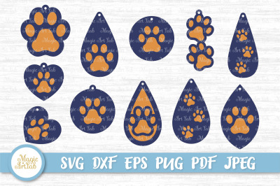Paw earrings SVGs, Paw earrings cut files, Paw