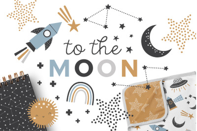To the Moon Clipart and Patterns Set