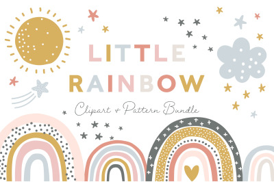 Little Rainbow Clipart and Pattern Set