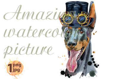 Watercolor portrait doberman in cylinder hat