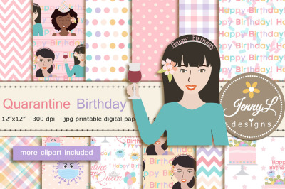 Quarantine Birthday Digital Papers and Clipart