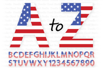 USA Flag Alphabet & Numbers SVG, 4th of July Letters,.