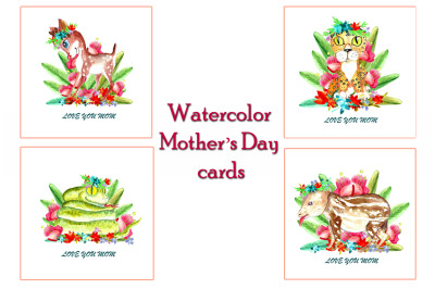 Watercolor Mother's Day cards with baby animals