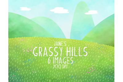 Watercolor Grassy Hills Clipart