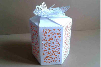 Box 12 Hexagonal  single piece with interior color,  SVG files.