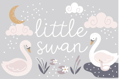 Little Swan Clipart and Patterns
