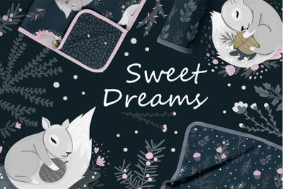 Nursery Art Bundle for Children's Bed Linen - Sweet Dreams
