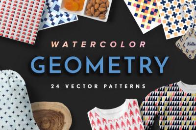 Geometry Watercolor Vector Patterns