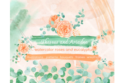 Watercolor eucalyptus and peach floral clipart