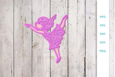 3D SVG Cute Ballerina Out Of Mandala v1