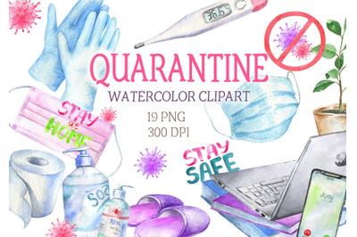 Watercolor quarantine virus self-isolation  epidemic covid clipart PNG