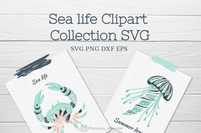 Sea life clipart collection SVG