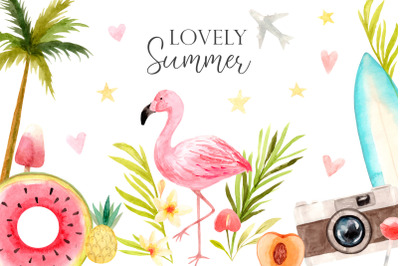 "Watercolor ""Lovely Summer"" Set. Cliparts, frames and compositions."
