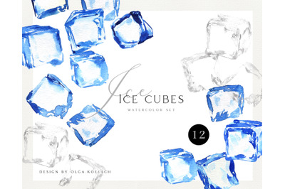 Watercolor ice cube clipart. Frozen ice cubes for cocktail png