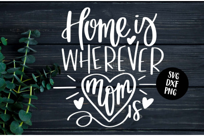 Home Is Wherever Mom Is - Hand Lettered SVG
