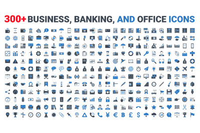 Set vector business, banking and finance icons set glyph blue.